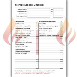 Caravan Park Emergency Management Checklist – Vehicle Accident