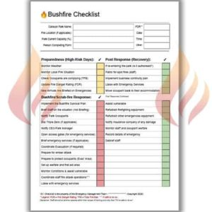 Caravan Park Emergency Management Checklist – Bushfire