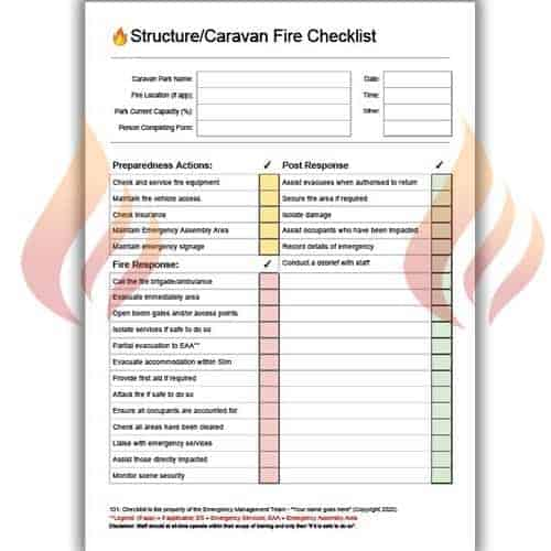 structure caravan fire checklist
